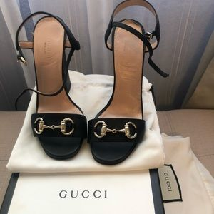 GUCCI Chunky black leather heels Size 6.5/36.5